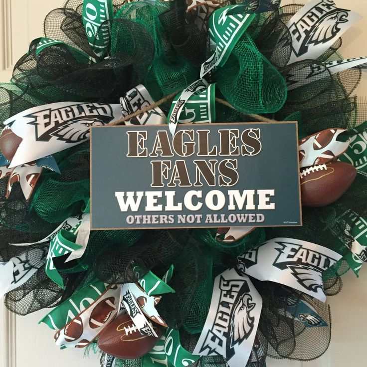 Philadelphia Eagles Mesh Wreath; Football Wreath; Fall Wreath; Sports Wreath; Eagles Decor; Football Decor; Handmade Wreath by ChewsieCreations on Etsy