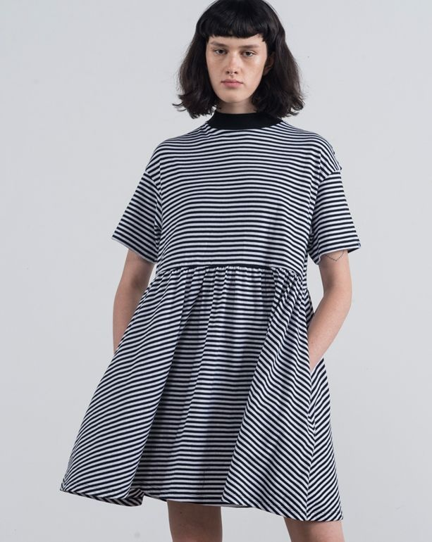 LO Basics Stripey Oversized T-shirt Dress - View all - New In - Womens