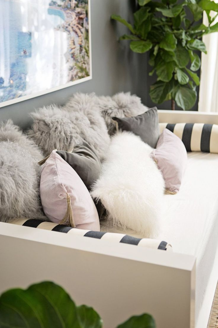 Parsons Daybed + Mongolian Lamb Pillows from west elm