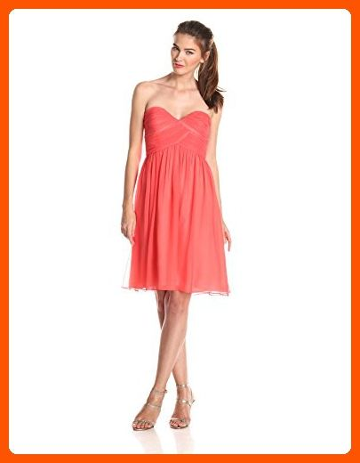 Donna Morgan Women's Strapless Sweetheart Chiffon Dress, Coral, 18 - All about women (*Amazon Partner-Link)