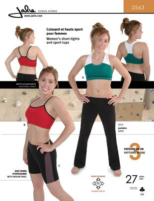 Jalie 2563 from Jalie patterns is a Women's short tights and sports bra sewing pattern