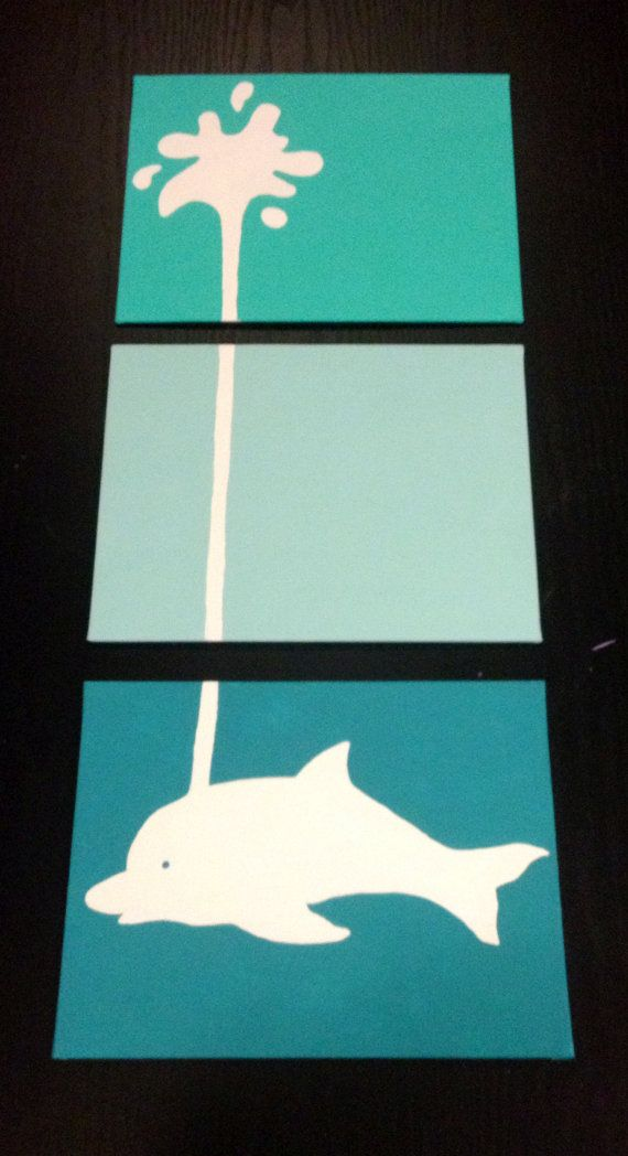 Three piece dolphin painting by ApricotInc on Etsy