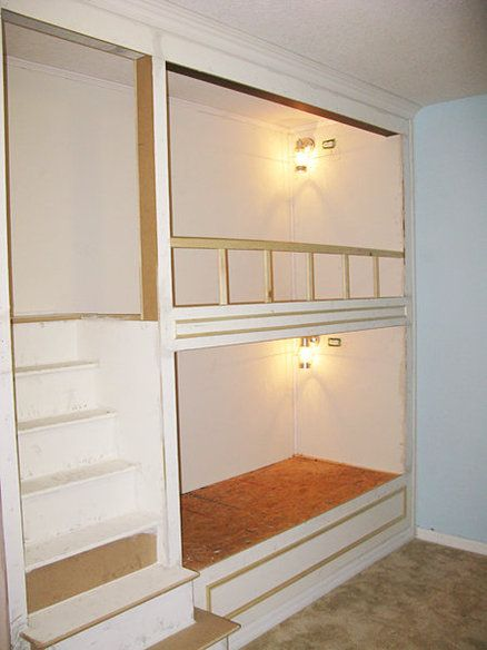 Link to construction plans/steps for built-in bunk beds. This fits perfectly in the grand-kid's room!!