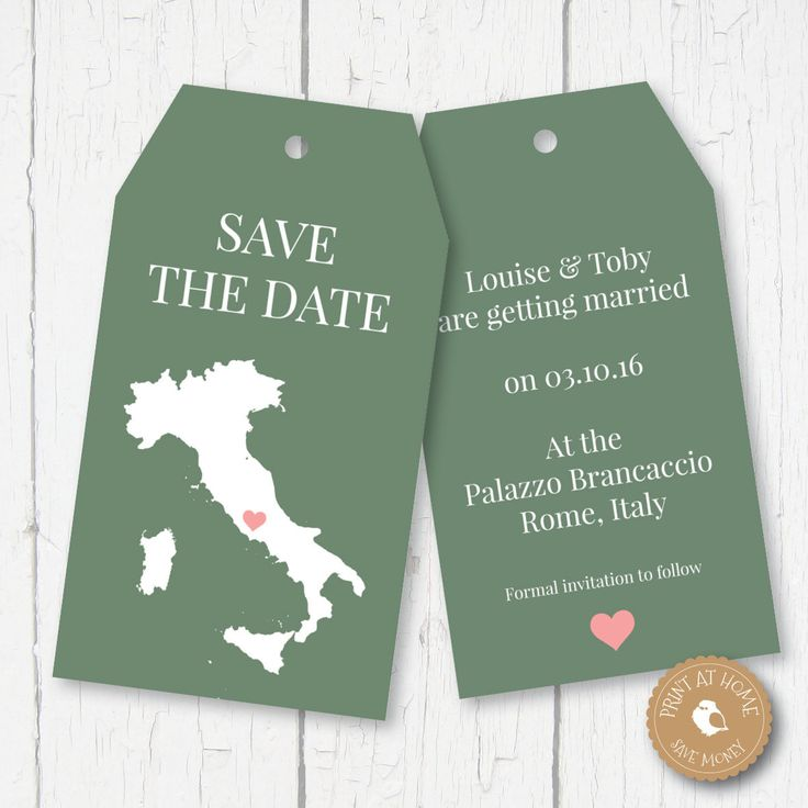 DIGITAL PRINTABLE - Save the date - Italy Wedding Luggage Tags - Print at home - Any Country by ChubbySparrow on Etsy