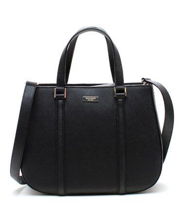 Black Newbury Lane Sylvie Saffiano Leather Handbag on #zulily
