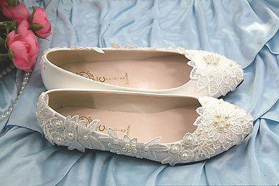 Perlas Boda Traje de Novia de Encaje Tacón Alto Tacón Bajo Plano Para Dama De Honor Zapatos Talla 5-12