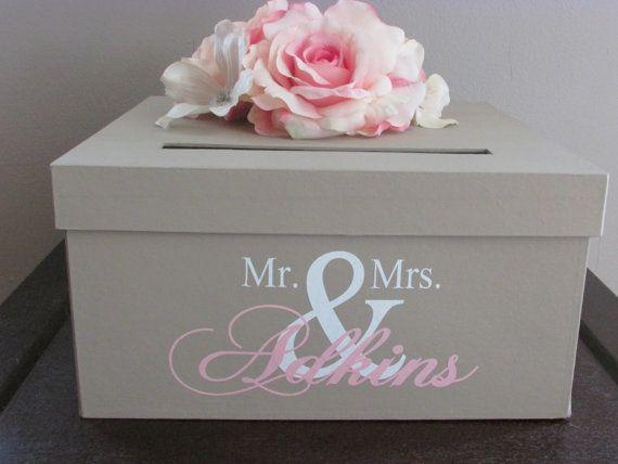 Tan Wedding Card Box, Tan, Ivory, and Pink Wedding Card Holder 12 Inch, Tan Gift Card Holder with Mr. and Mrs. Custom Name