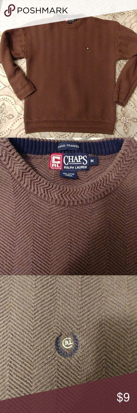 Men's Vintage Chaps Ralph Lauren Sweater Men's Vintage Chaps Ralph Lauren Sweater. Gently Used. Size Medium. Heavyweight. Dark Taupe, Brownish Color. Chaps Ralph Lauren Sweaters