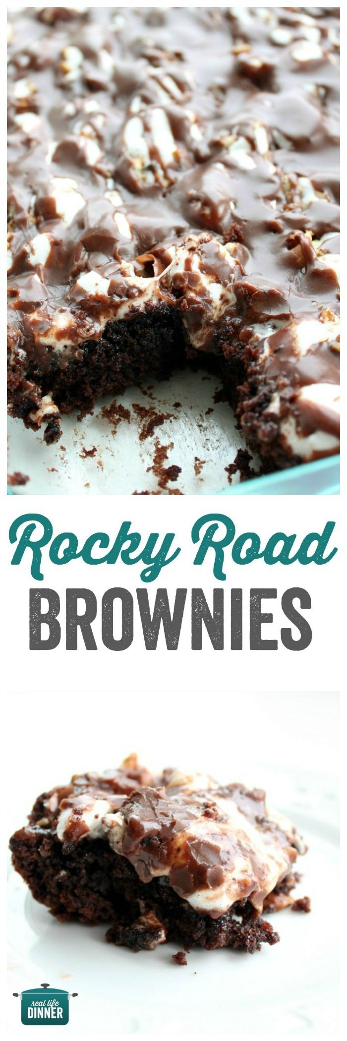Rich, fudge-y, Rocky Road Brownies. The frosting is INSANE and so easy it's made in the microwave. ~ http://reallifedinner.com