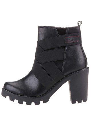 s.Oliver - Černé dámské vyšší kotníkové boty na podpatku - 1