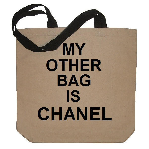4219d93b33bbcc My Other Bag Is CHANEL Funny Cotton Canvas Tote Bag - Eco Friendly in...  ($19) ❤ liked on Polyvore | Bags | Canvas tote bags, My other bag, Bags