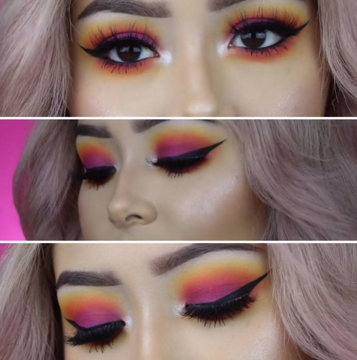 We definitely need to try this sunset eyeshadow trend.