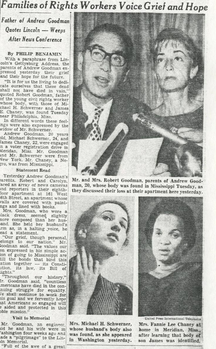 Rita Schwerner | Widow of murdered Civil Rights worker Michael Schwerner. Following his death she, along with Carolyn Goodman and Fannie Lee Chaney, received letters of condolence from fellow volunteers and sympathetic members of the public. Many expressed their shared sense of grief as spouses and parents. #freedomsummer