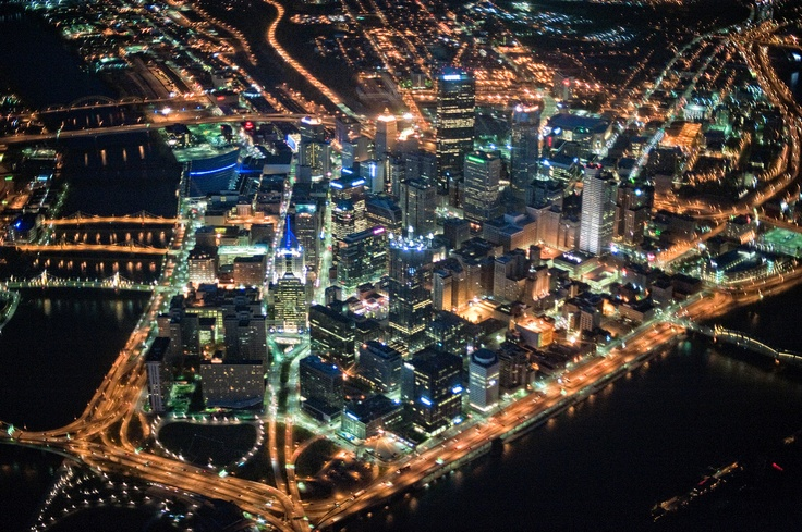 Pittsburgh From Above At Night This Is A View Of