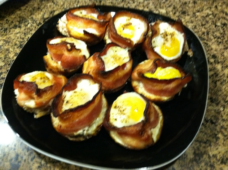"... cupcakes"" buttered toast, egg, and #bacon baked in a cupcake pan"