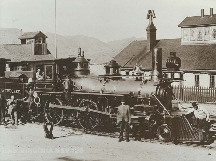 Virginia & Truckee Railroad Engine No. 11, The Reno, prepares to depart from the Virginia City passenger depot. The locomotive was manufactured by Baldwin in 1872 and was used for freight, snow-plowing, and pulled private cars.