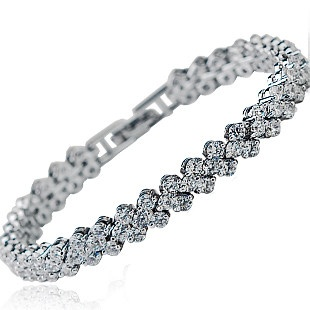 Sparkling Heart-White Gold Plated Bracelet with Synthetic Diamonds www.veroni.com.au