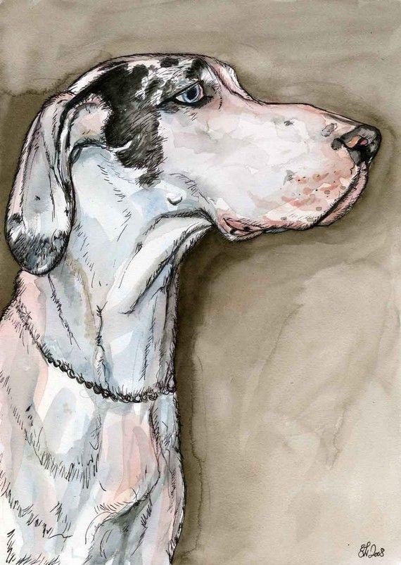 Great Dane Art Dog Print by AlmostAnAngel66, £15.00