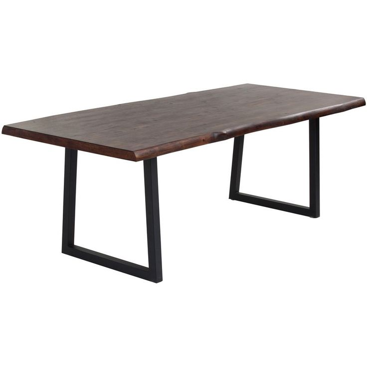 """87"""" 1,348.99 This uniquely crafted dining table is sure to impress in any transitional or contemporary dining room. Featuring a solid acacia wood and wood veneer live edge top with a black powder coated metal base."""