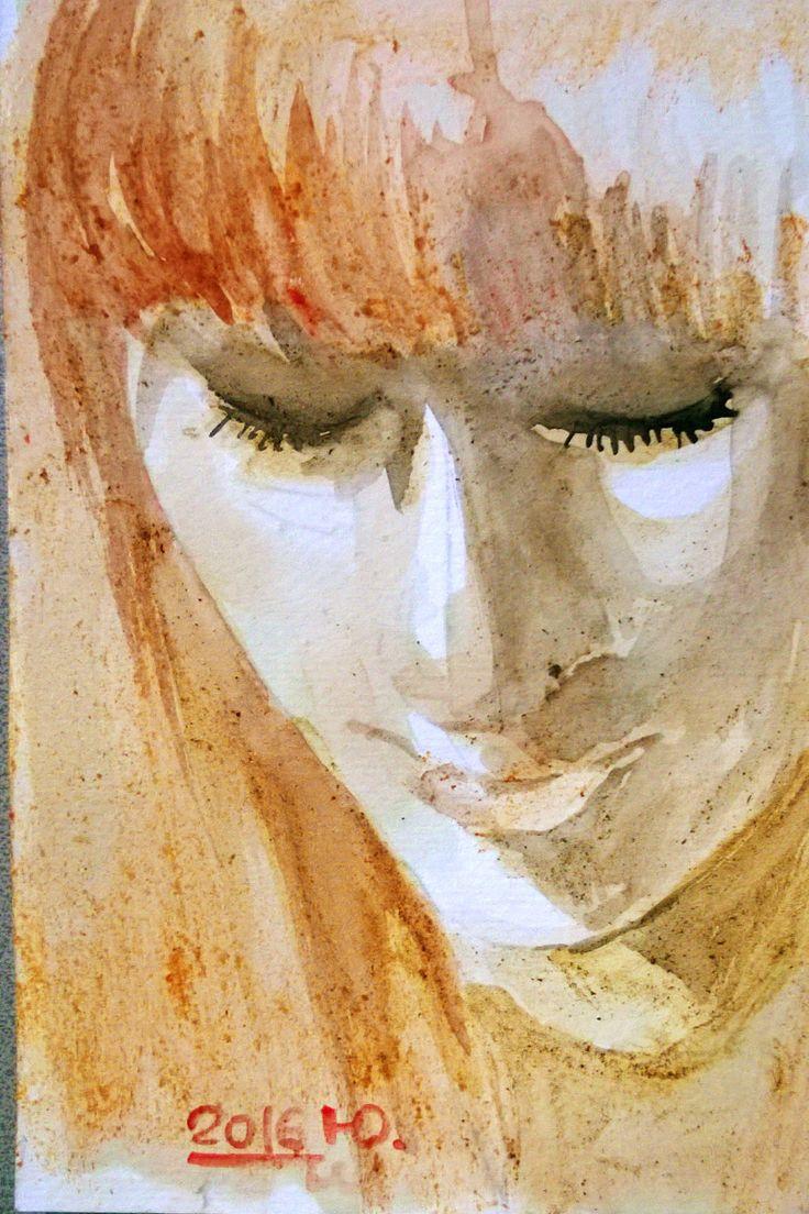 I miei DJ preferiti. La bella Giulia Salvi di #GIULIA su Virgin Radio Italy dipinta con succo di pomodoro, caffè, salsa di soya e succo di melograno su carta da acquerello 10x15 cm --- MY favorite DJs. Giulia Salvi from #GIULIA at Virgin Radio Italy painted with watecolored tomato juice, coffee, soy sauce and  pomegranate juice on watercolor paper 10x15 cm #arte #acquerello #ritratto #diversamenteacquerello #art #watercolor #potrait #watercolordifferent #virginradio #torino #italy #christmas