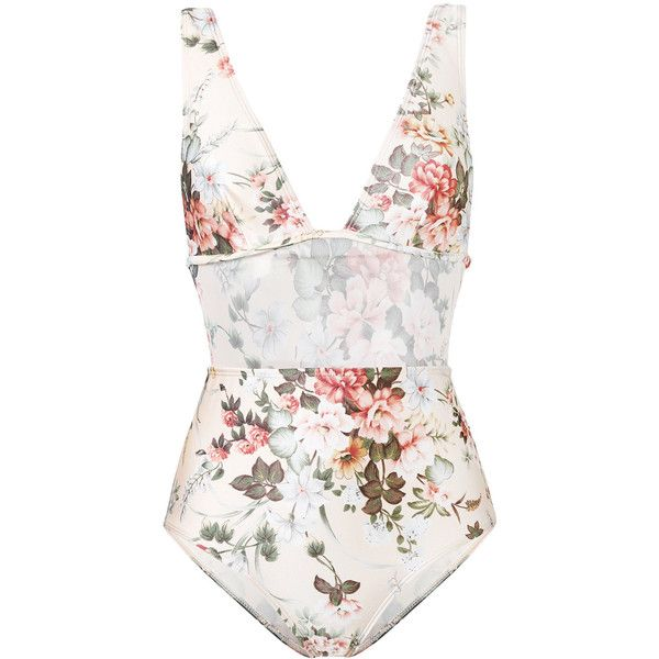 Zimmermann floral one-piece swimsuit (€285) ❤ liked on Polyvore featuring swimwear, one-piece swimsuits, swimsuits, spandex swimwear, colorful swimwear, floral one piece bathing suit, floral swimsuit and floral print swimwear