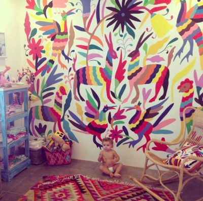 Kelly Green  And if you thought that finally you could buy otomi wallpaper, then you would be mistaken as someone has painstakingly hand painted every bit of that beautiful bright wall mural.