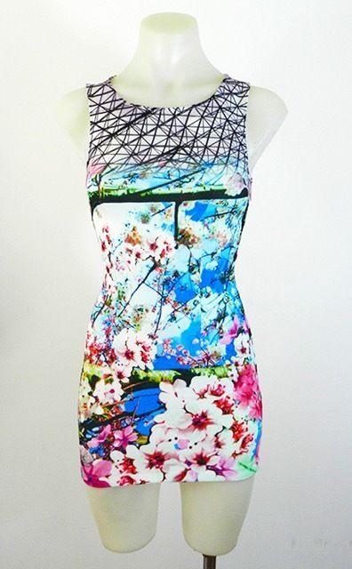 Bright Cherry Blossom  Back Detail Cutout Body Con Sleeveless Mini Dress RRP $59
