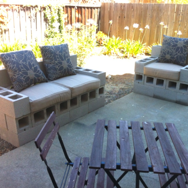 Spent the morning building some cinder block patio furniture