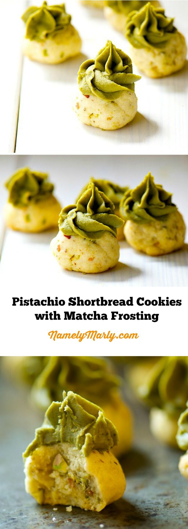 Pistachio Shortbread Cookies with Matcha Green Tea Frosting. Do you want to stand out from the fall pumpkin recipes? This should do it!