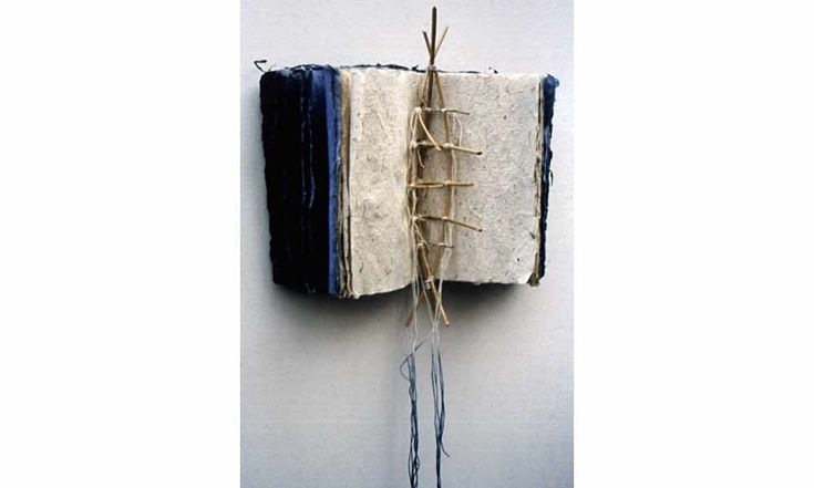 Boat BookBound gradating cotton rag & seaweed HMPaper, lashed willow branches create a boat skeleton as a centerfold. 20 X 15 X 6 in.