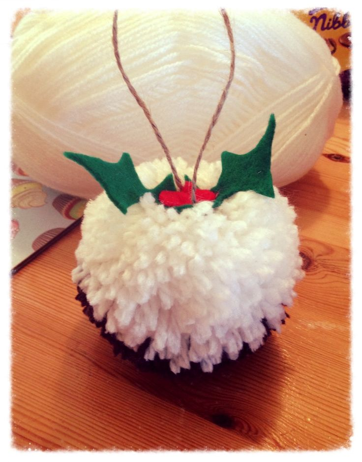 Pompom Christmas pudding - Made by me & my lovely friends on one of our craft days