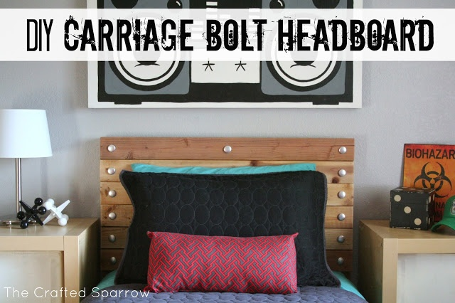 DIY Carriage Bolt Headboard  (using aluminum buttons to create a faux carriage bolt and recycled 2 x 4's)  #headboard, #diyheadboard  www.thecraftedsparrow.com