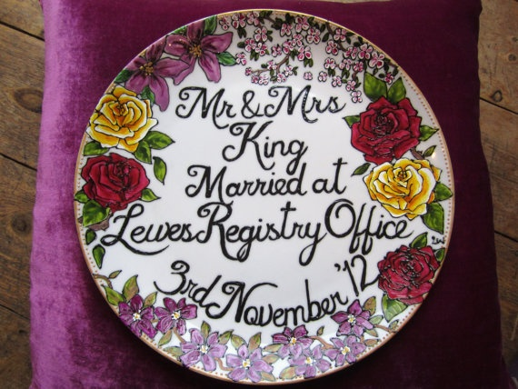 Hand painted floral winter wedding plate - personalised gift or decoration via Etsy