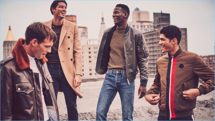 Styles to Smile About (Left to Right): Calvin Klein 205W39NYC shearling-trimmed leather jacket, turtleneck and jeans. Prada double-breasted coat and cashmere sweater with Berluti denim jeans. Burberry leather bomber jacket, Joseph ribbed sweater, and Dries Van Noten jeans. Moncler bomber jacket and Valentino trousers.
