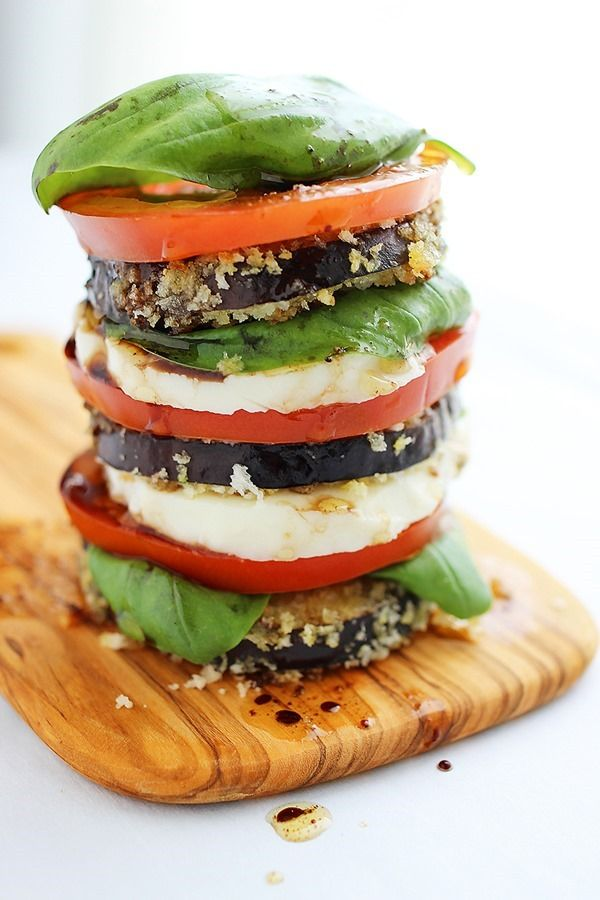 Crispy Eggplant Caprese Stacks [The Comfort of Cooking]