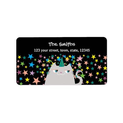 Cat Unicorn Stars Colors Magic Cute Birthday Party Label - birthday cards invitations party diy personalize customize celebration