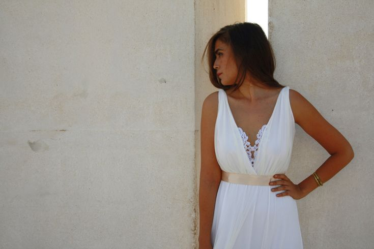 wedding dress deep V neck  with embroidery by Barzelai on Etsy, $310.00