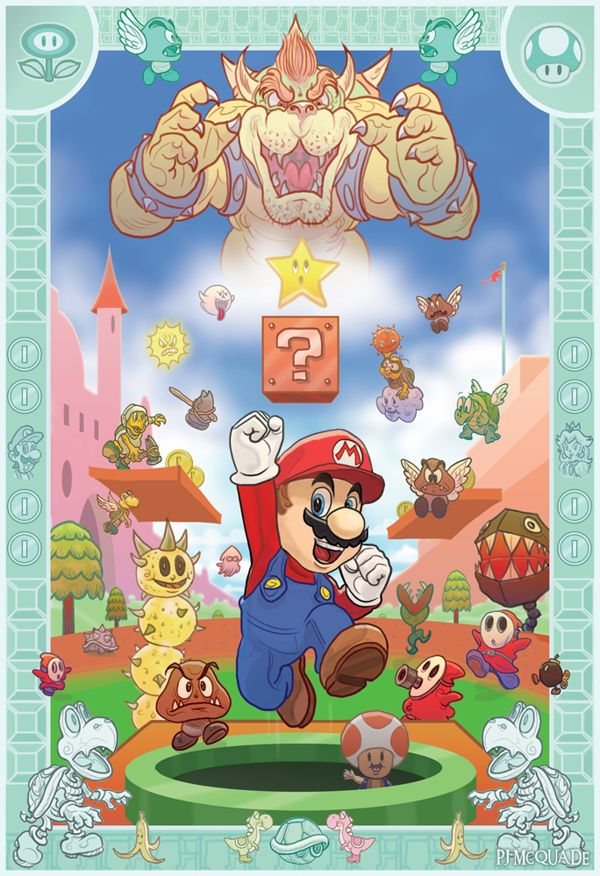 "Lovely, colorful, and done in the official Nintendo art style // ""Super Mario Bros."" by PJ McQuade (via Behance)"