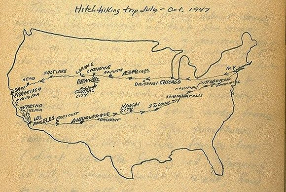 jack kerouac's 1947 cross-country hitchhiking round-trip