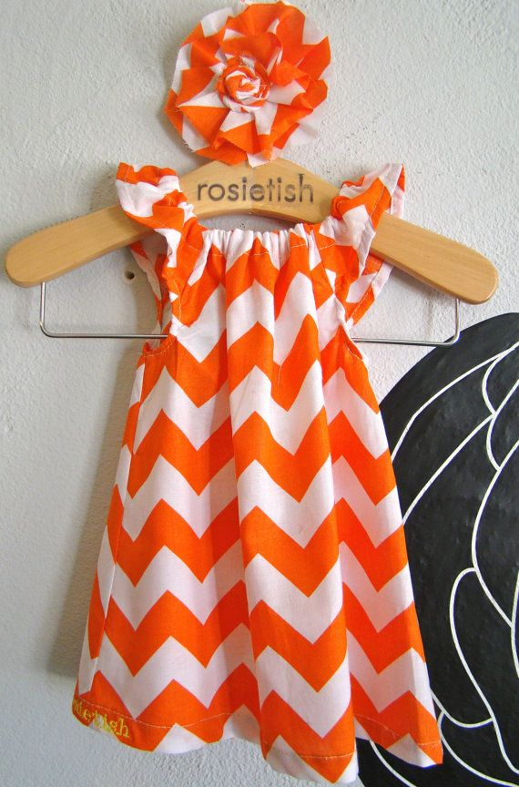 Orange Chevron Dress, so need this for Grace 's first Clemson game.