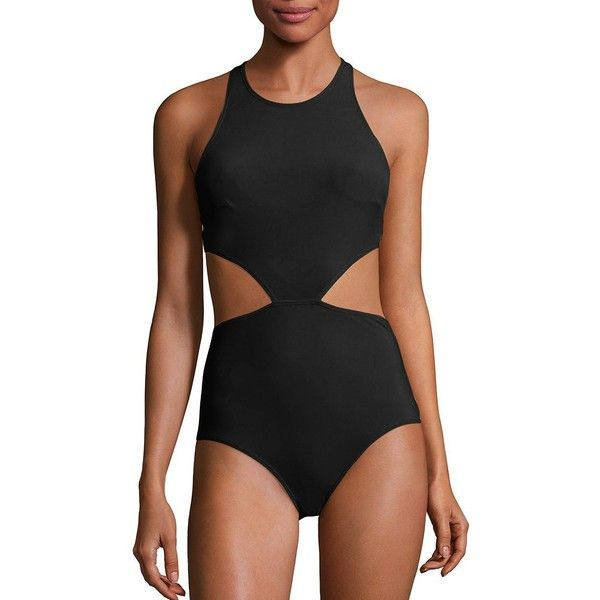 FLAGPOLE Lynn One-Piece Swimsuit (£320) ❤ liked on Polyvore featuring swimwear, one-piece swimsuits, apparel & accessories, swimming costumes, one piece cutout bathing suit, cut-out swimwear, swimsuit swimwear and cut-out swimsuits