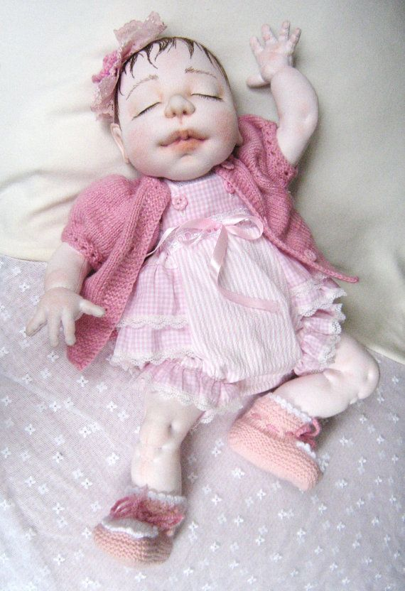 DELICIA 20 inch Cloth Doll Soft Sculptured Doll by MaryUniqueDoll