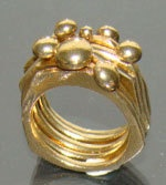 Steampunk Brass Bubble Stack Rings handmade one of by arwcreation, $65.00