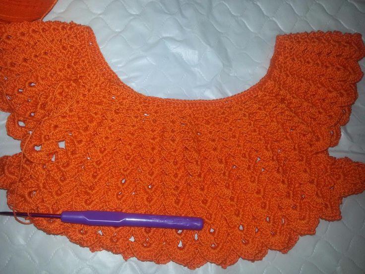 Вяжем круглую кокетку Платье на малышку часть 1(Knit round yoke dress in...