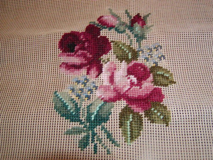 Vintage Preworked Design Needlepoint Canvas. Design is preworked. You select purchase background color of your choice to complete the canvas. Cotton floss details on flowers leaves for shimmer.