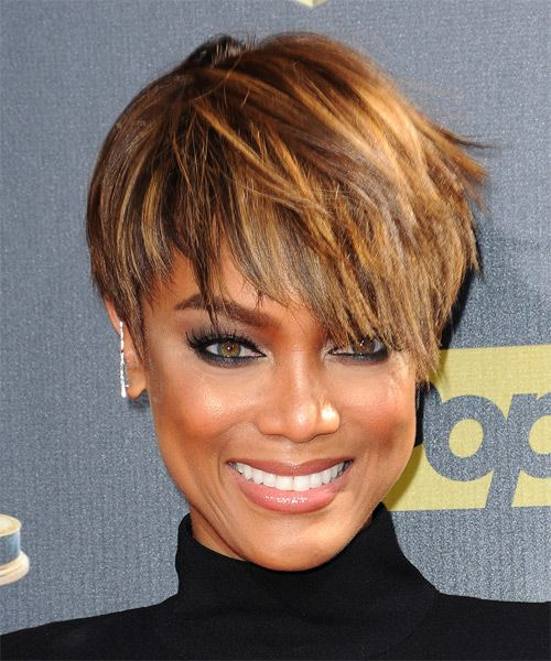tyra banks hairstyles pictures | Tyra Banks Short Straight Hairstyle - Medium Brunette (Golden)