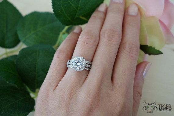 3 Band 2.25 Carat Halo Wedding Set, Vintage Inspired Bridal Rings, Man Made Diamond Simulants, Art Deco, Engagement Rings, Sterling Silver