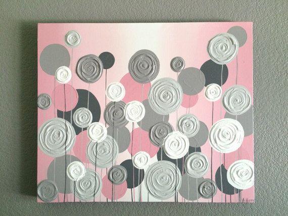 Pépinière, Art pariétal, rose avec du gris texturé fleurs, peinture acrylique sur toile, 20 x 24 prêt à l'expédition