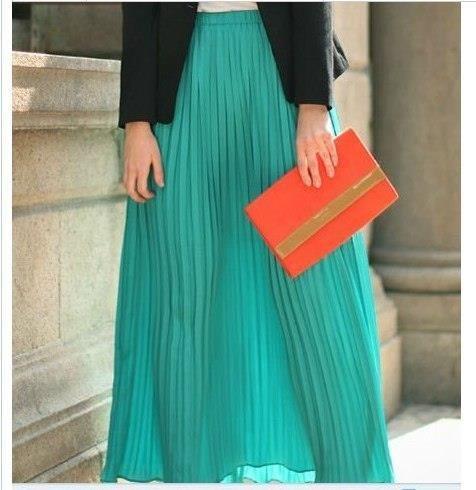 Длинная бирюзовая юбка