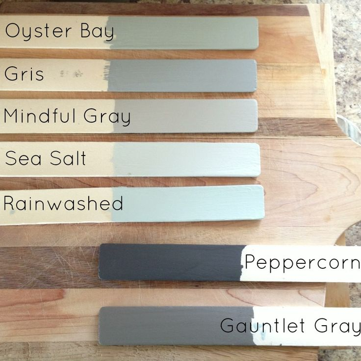 Oyster bay: master bedroom; mindful gray: Eamons room/nursery; peppercorn: powder room/laundry